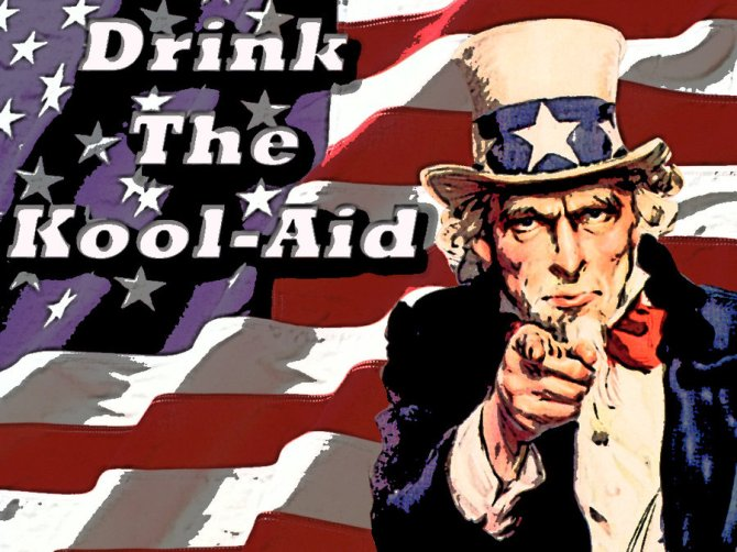 Image result for keep drinking the kool aid evil